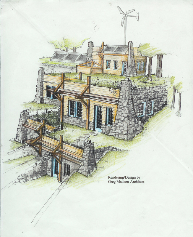 Active Solar House Plans concept design for a partially-earth-sheltered tiered home design